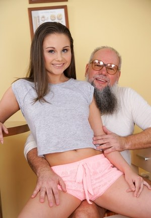 Young slut Liza Shay visits the seniors center to suck some oldman cock