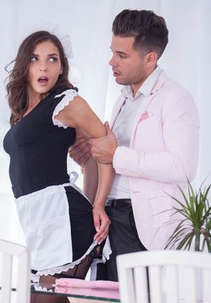 Sexy maid Henessy provides her boss with the anal sex action he desires