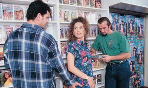Vintage star Rose Dee P gets accosted for a sex shop group fuck and suck