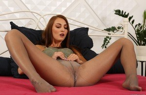 Slutty Katy Rose tastes her own piss after masturbating in bed