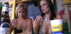 Daring Nikki Nova removes her panties and flashes her boobs at public lunch