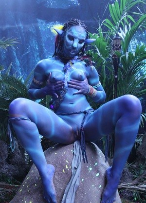 Cosplay chick Misty Stone pinches her blue nipples in hot fantasy tease