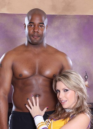 Busty blond Courtney Cummz's wet pussy is drilled by black cock.