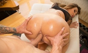 Horny Klara Gold reveals big ass outdoors for licking & oiled anal fucking