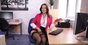 Naughty secretary spreads her legs for a no panty upskirt in her office chair