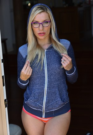 Sexy blonde Ashley in glasses spreading ass toying pussy  baring nice tits