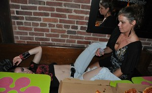 Dark haired amateur Dawn Avril and her bisexual gf liven up the local club