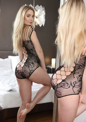 Sexy blonde Alecia Charles in lacy lingerie riding her BF cowgirl style