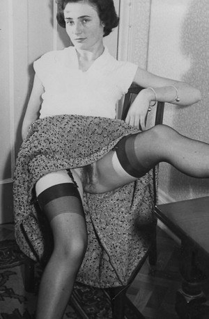 Sexy vintage pornstars spreading legs in stockings to show hairy pussies