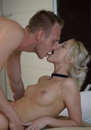 Gorgeous blonde Kim in sexy lingerie taking her BFs hard cock doggystye