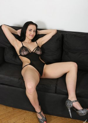 Hot black haired Nicole Love loses her sheer lingerie for big black cock anal