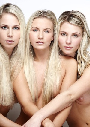 Three hot blondes showing off their sexy naked wares in lesbian group grope