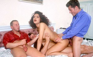 Naked vintage pornstar Ania sucks cock and gets pounded in hot threesome