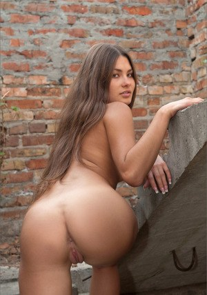 Beautiful brunette naked outdoors flaunting her smooth beaver and bare ass