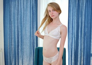 Skinny teen beauty Charlotte Carmen strips see thru lingerie to buzz her twat