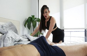 Jennifer White's clothes are barely able to cover her tits and ass as she fusses over her stepson Damon Dice. He can tell she's not wearing a miniskirt as she waves her bottom at him. When she leans over to give his hair a trim, her big boobs hang without