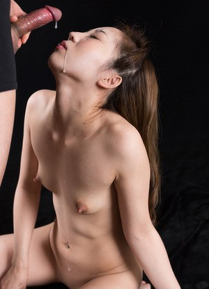 Sweet little Japanese girl with tiny tit and hard nipples on her knees sucking