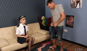 British meter maid Chloe Toy strips to her knickers while a man wanks on