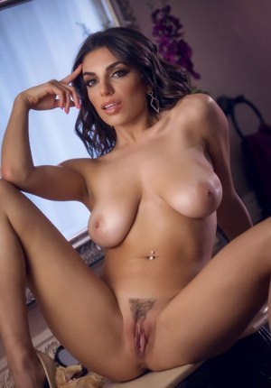 Busty beauty Darcie Dolce spreading pussy naked on the bathroom counter