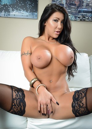 Asian chick with long hair August Taylor shows her tits and twat in hosiery