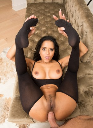 Latina pornstar Abby Lee Brazil gets fucked in the ass wearing funky hosiery