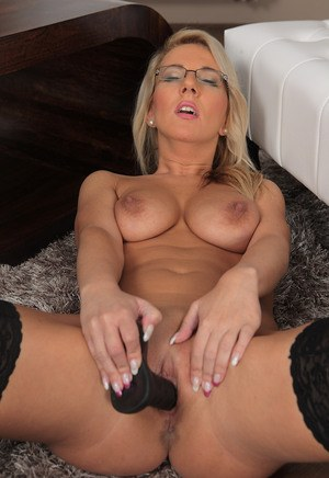 Sexy blonde Luci Angel in glasses toying big tits  tight pussy with dildo