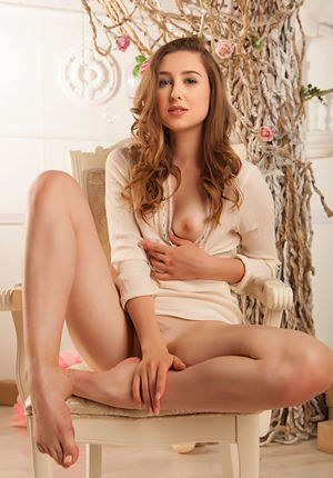 Long Legged Teen Girl Ginger Frost Gets Naked Atop A Chair