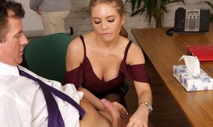 Alessandra Jane  Vickie Powell give a messy handjob in CFNM office sex