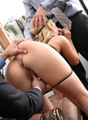 Busty blindfolded Ashlynn Brooke gets fucked and jizzed on by two suits