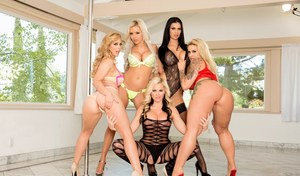 Busty Ryan Conner and her sexy friends sharing a cock in reverse gangbang