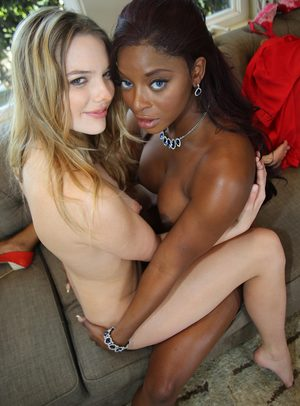 Black and white dykes eat some pussy before breaking out the sex toys