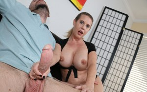 Busty Grace Evangeline lets her hair down & her big tits loose for hot handjob