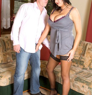Thick female seduces her man friend in black stocking and a short dress