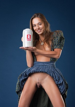 Smiley slut Dominika flashes no panties upskirt & gets naked with her beer