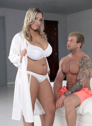 Blonde BBW Krystal Swift seduces a guy in hr robe and underthings
