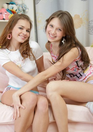 Young girls Kyra and Helena undress each other before lesbian sex