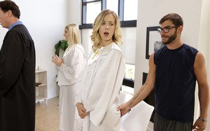 Haley Reed and her stepbrother Logan Long have both been ordered by the choir director to practice their singing even though Logan is more interested in playing football. Deciding to cause trouble, Logan gets on his knees behind Haley and lifts her gown s