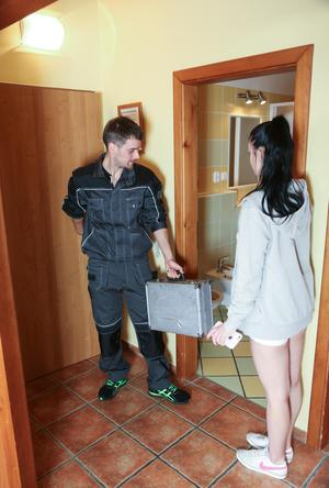 Barely legal brunette teen seduces the plumber while shes showering