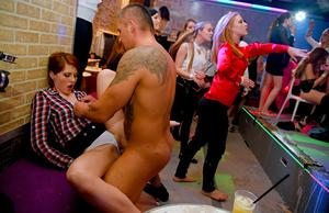 Party going chicks have sex with male dancers inside the club