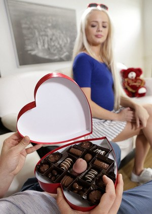 Petite blonde teen Elsa Jean finds her stepbrothers cock in box of chocolates
