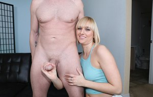 Naughty blonde Kate England is on her knees milking a big fat dick