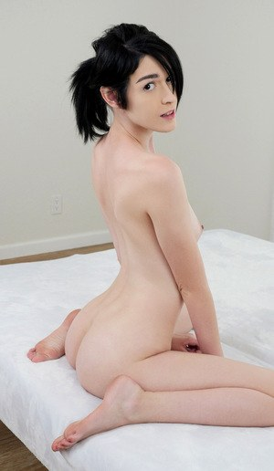 Hot coed Ivy Aura peels off to show flat chest and masturbate her shaved muff
