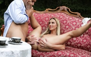 Horny Afina Kisser licking balls & anal fucking during afternoon tea on lawn