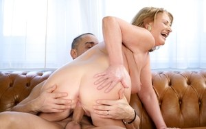 Fat older lady Sally G takes a load off jizz on her saggy boobs after sex