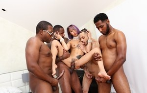 Asian tattooed slut Kimberly Chi gets involved in an interracial gangbang