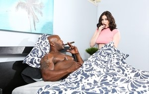 Brunette Amilia Onyx sucks herself a big black cock for a big tit cum coating