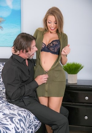 Blonde MILF Britney Amber is unzipped from her dress before fucking