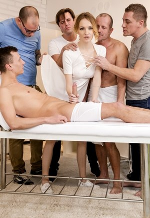 Female massage attendant Belle Claire unwinds with a gangbang after work