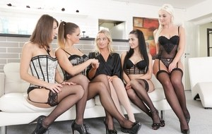 Victoria Pure is in need for some relaxation and some girly action she goes to her massage parlor and asks to spend time with a few girls. Four of the hottest girls give her the dirtiest lesbian gang bang any girl could ask for, making sure they give her
