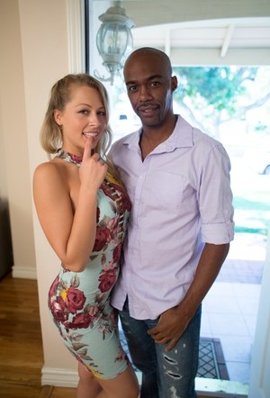 Blonde female Zoey Monroe pulls downs her white underwear for a black man